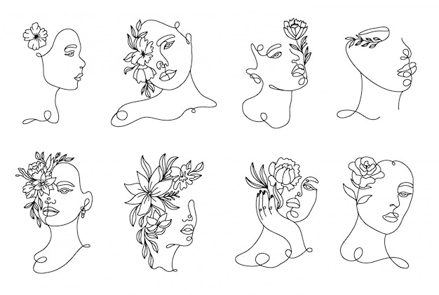 Ustaw ręcznie rysowane liniowe portrety kobiety