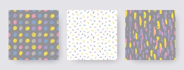 Ustaw ręcznie rysowane nowoczesne wzory pociągnięcia pędzlem. kształty tekstura wektor. abstrakcyjne tła w kolorze boho. dekoracyjny nadruk
