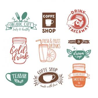 Ustaw retro vintage logo dla kawiarni
