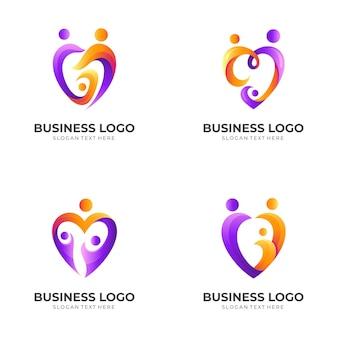 Ustaw rodzinne logo miłości, ludzie i miłość, kombinacja logo z kolorowym stylem 3d