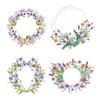 Ustaw romantyczne ramy z polnymi kwiatami.