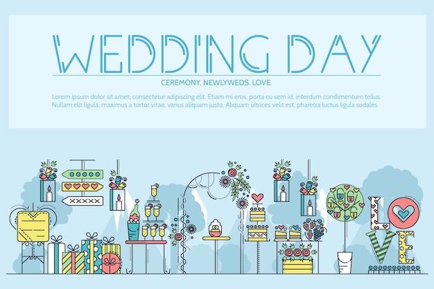 Ustaw różne dekoracje i potrawy przygotowane na uroczystość weselną zarys urządzony pokój.