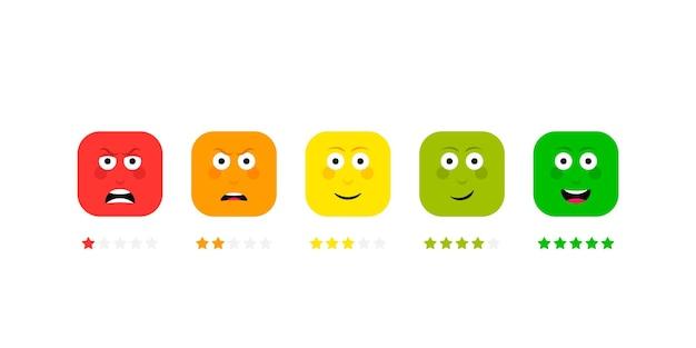 Ustaw różne emocje twarzy z oceną gwiazdek. skala opinii. zły, smutny, neutralny, zadowolony i szczęśliwy zestaw emotikonów.