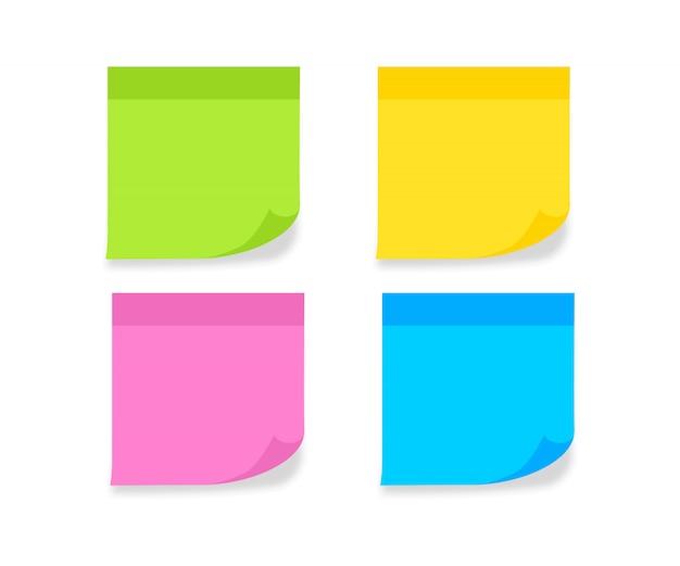 Ustaw różne kolorowe kartki papieru notatkowego. pusty post na wiadomość, listę zadań, pamięć. lepkie kolorowe notatki. papier firmowy z zwiniętymi rogami i cieniami. ilustracji wektorowych