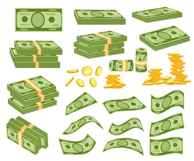 Ustaw różne rodzaje pieniędzy. pakowane w wiązki banknotów, latających banknotów, złotych monet. ilustracja na białym tle. strona internetowa i aplikacja mobilna