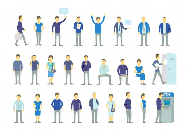 Ustaw różnych ludzi, ustaw kolejkę w bankomacie, obróć drzwi. grupa ludzi, zespół pracowników biznesmenów w niebieskich ubraniach.