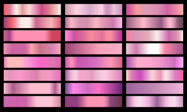 Ustaw różowy gradientu koloru chromu folia tekstura tło.