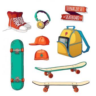 Ustaw rzeczy. styl uliczny. rzeczy nastolatek. wszystkie sporty na deskorolce