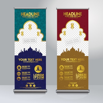 Ustaw rzutuj szablon transparent z teksturą wzór meczetu