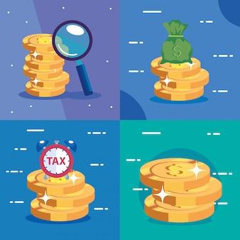 Ustaw sceny dnia podatkowego i ikony