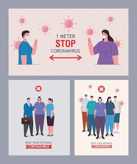 Ustaw sceny dystansowania społecznego, trzymaj dystans publicznie, zapobiegaj koronawirusowi covid-19