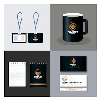 Ustaw sceny makiety marki tożsamości korporacyjnej z materiałami papierniczymi