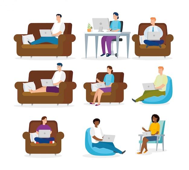 Ustaw sceny osób pracujących w domu