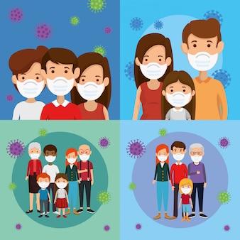 Ustaw sceny rodzin za pomocą maski na twarz