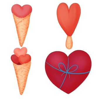 Ustaw serce walentynkowe, zestaw kolekcji serca.