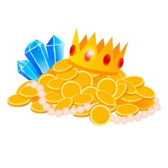 Ustaw skarb, złoto, monety, klejnoty, koronę, miecz, wektor, na białym tle, styl kreskówkowy, do gier, aplikacji