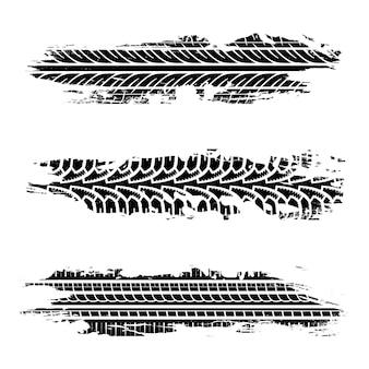 Ustaw ślady opon grunge. tekstura samochodu, brudne koła motocykla. ilustracja wektorowa na białym tle