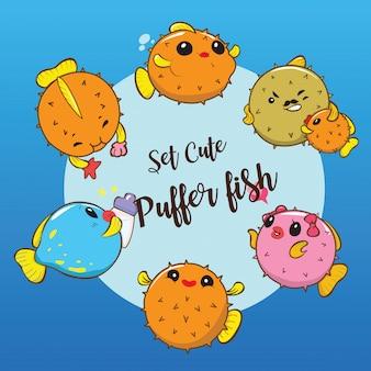 Ustaw śliczną rybkę puffer