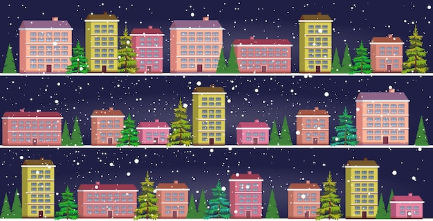 Ustaw śliczne domy w sezonie zimowym śnieżna ulica miasta święto koncepcja uroczystości pejzaż miejski opady śniegu
