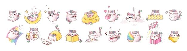 Ustaw słodkie emocje kota kawaii