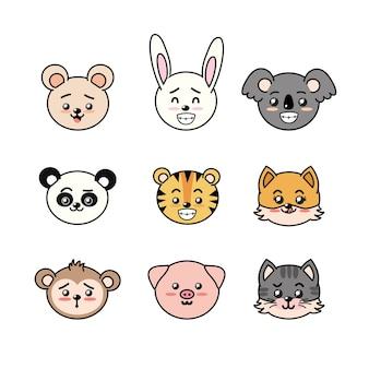 Ustaw słodkie i czułe zwierzęta z wyrażeń