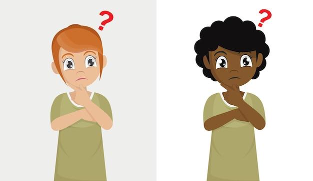 Ustaw słodkie małe dziecko dziewczynka myśli ze znakiem zapytania