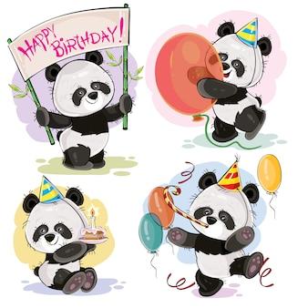 Ustaw słodkie misie dla dzieci panda w tekturowe kapelusze, z ciastem i świeca