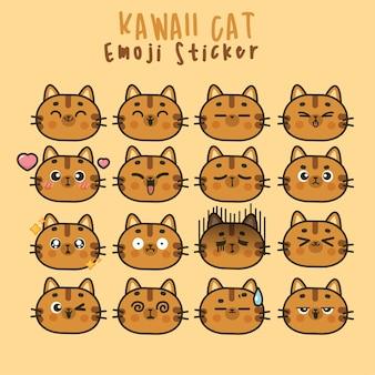 Ustaw słodkie twarze kawaii cat śmieszne emotikony w różnych wyrażeniach dla sieci społecznościowych. ekspresja postaci anime i ilustracja twarzy emotikon