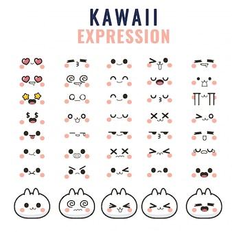 Ustaw słodkie twarze kawaii, oczy i usta, zabawny emotikon z kreskówek w różnych wyrażeniach