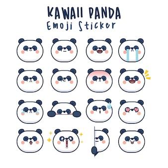 Ustaw słodkie twarze kawaii panda śmieszne emotikony z kreskówek w różnych wyrażeniach dla sieci społecznościowych. ekspresja postaci anime i ilustracja twarzy emotikon