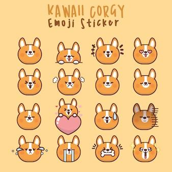 Ustaw słodkie twarze pieska kawaii corgi, oczy i usta, zabawny emotikon z kreskówek w różnych wyrażeniach