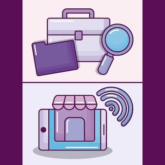 Ustaw smartphone z ikonami elektronicznego biznesu