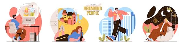 Ustaw śniących ludzi ilustracja koncepcja płaskiej konstrukcji postaci ludzi