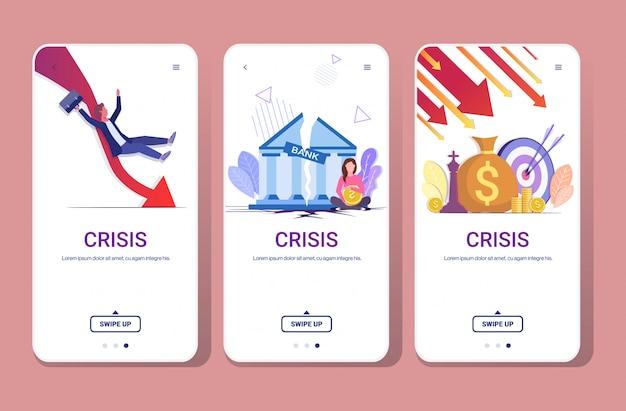 Ustaw spadające strzałki zmniejszające rozciąganie gospodarki rosnące upuszczające kryzys finansowy niepowodzenie budżet załamanie w dół wykres ekrany telefonów kolekcja pozioma pełna długość