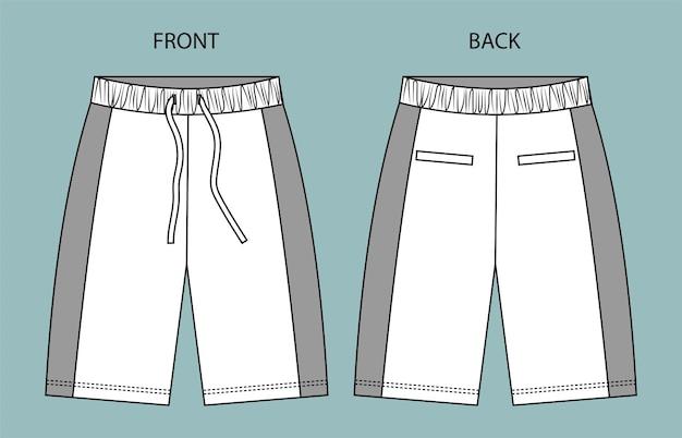 Ustaw spodnie z przodu iz tyłu widok z tyłu spodnie moda płaski szablon szkicu