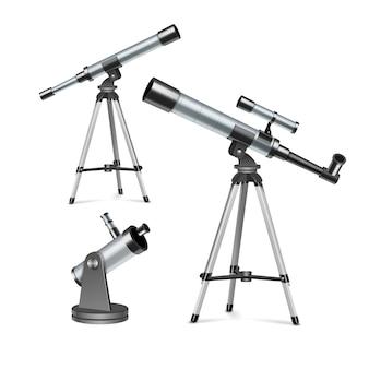 Ustaw srebrne teleskopy optyczne na stojaku