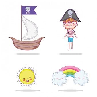 Ustaw statek z pirackim chłopcem i słońcem z tęczą