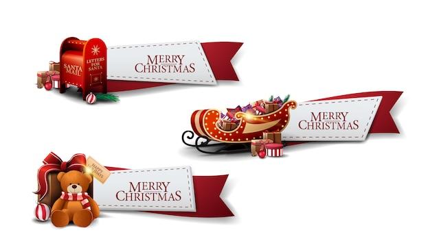 Ustaw świąteczne pozdrowienia czerwone wstążki z ikon bożego narodzenia na białym tle