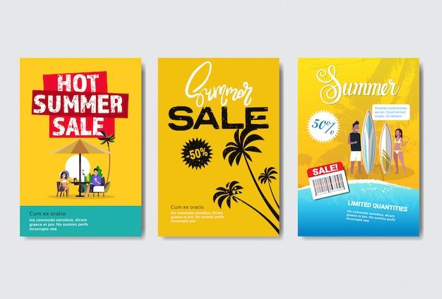 Ustaw szablon banner lub plakat sprzedaż lato z tropikalnej dłoni