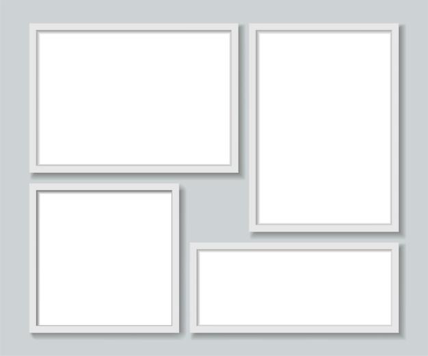 Ustaw szablon białych ramek do zdjęć.