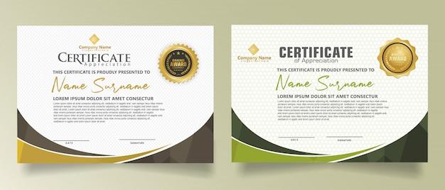 Ustaw szablon certyfikatu z dynamicznymi i futurystycznymi wielokątnymi kształtami