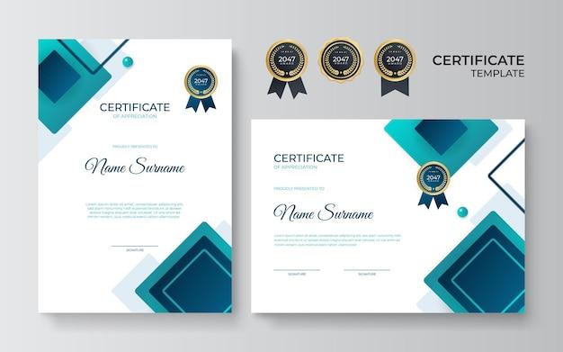 Ustaw szablon certyfikatu z niebieskim zielonym geometrycznym dynamicznym i futurystycznym wielokątnym kolorem i nowoczesnym tłem. projekt niebieskiego certyfikatu w profesjonalnym stylu.