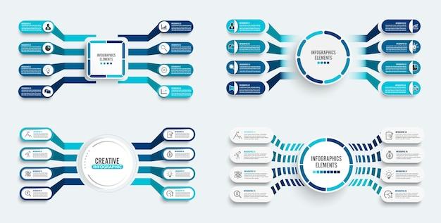 Ustaw szablon infografiki z etykietą papierową 3d, zintegrowanymi okręgami. koncepcja biznesowa z 8 opcjami. treść, diagram, schemat blokowy, kroki, części, infografiki osi czasu, przepływ pracy, wykres.