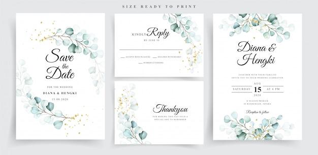 Ustaw szablon karty ślubu z pięknym miękkim eukaliptusem