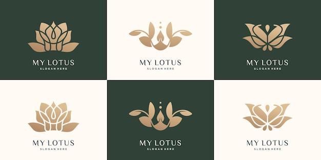 Ustaw szablon kolekcji logo lotosu luksusowy abstrakcyjny kwiat lotosu w kolorze złotym wektor premium