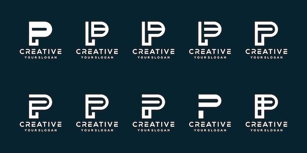 Ustaw szablon logo litery p w pakiecie