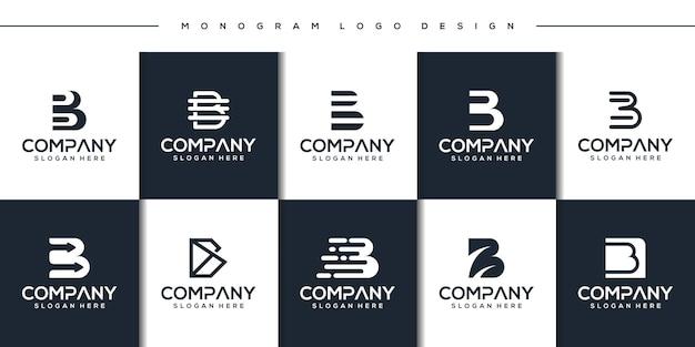 Ustaw szablon logo monogram litera b