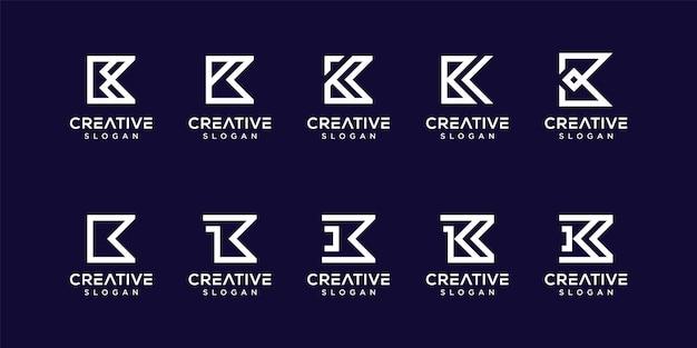 Ustaw szablon logo monogram litery k