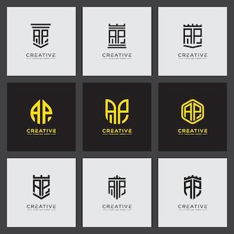 Ustaw szablon logo z początkowymi literami ap