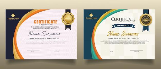 Ustaw szablon pionowy nowoczesny certyfikat z futurystycznym i dynamicznym tekstury nowoczesnym tle.
